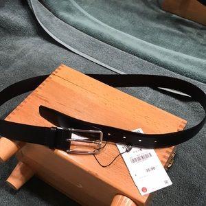 Zara man black leather belt NWT.